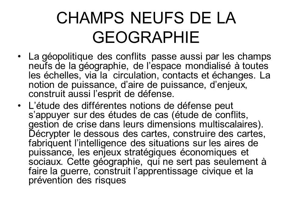 CHAMPS NEUFS DE LA GEOGRAPHIE