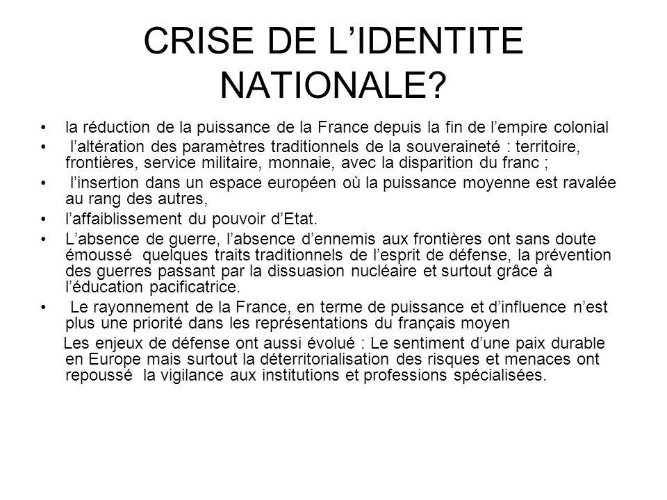 CRISE DE L'IDENTITE NATIONALE