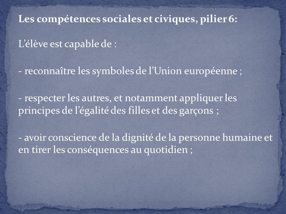 Les compétences sociales et civiques, pilier 6: L'élève est capable de : - reconnaître les symboles de l'Union européenne ; - respecter les autres, et notamment appliquer les principes de l'égalité des filles et des garçons ; - avoir conscience de la dignité de la personne humaine et en tirer les conséquences au quotidien ;
