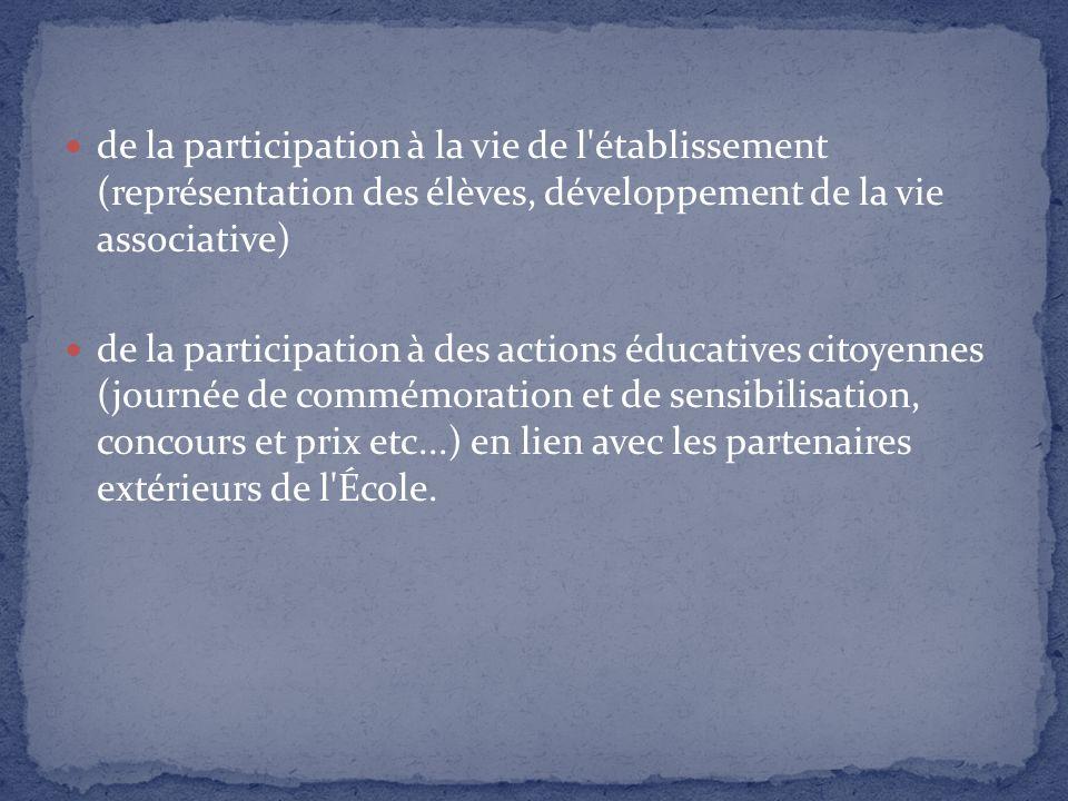 de la participation à la vie de l établissement (représentation des élèves, développement de la vie associative)