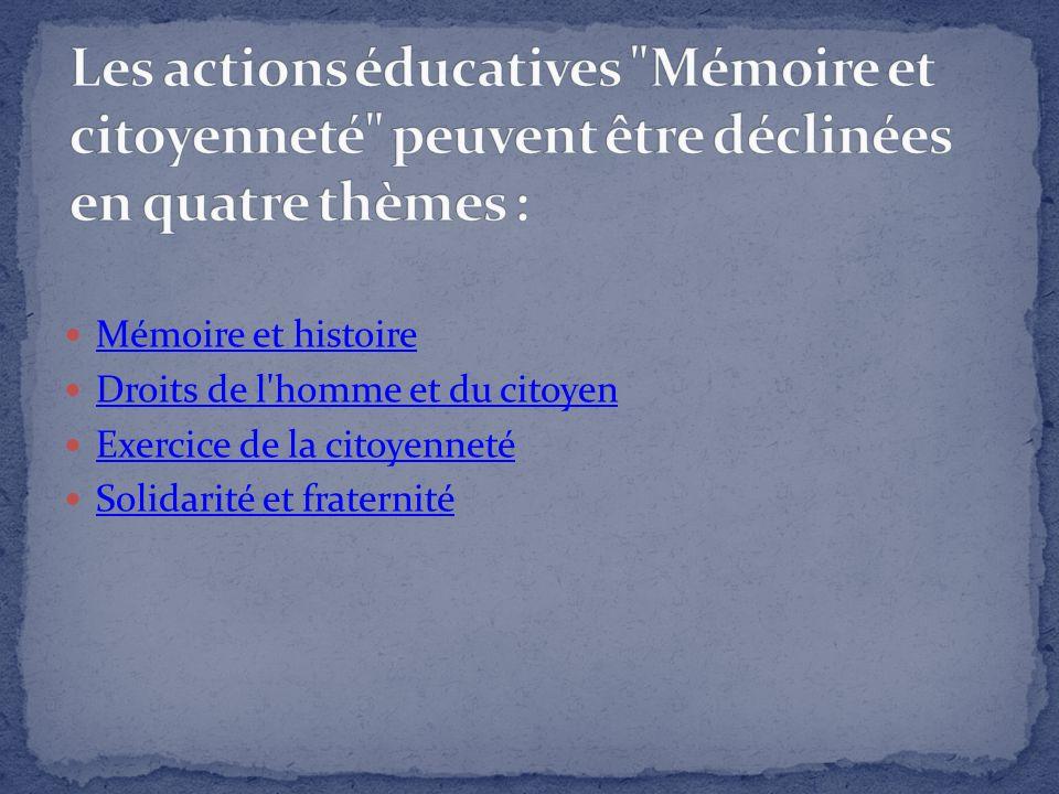 Les actions éducatives Mémoire et citoyenneté peuvent être déclinées en quatre thèmes :