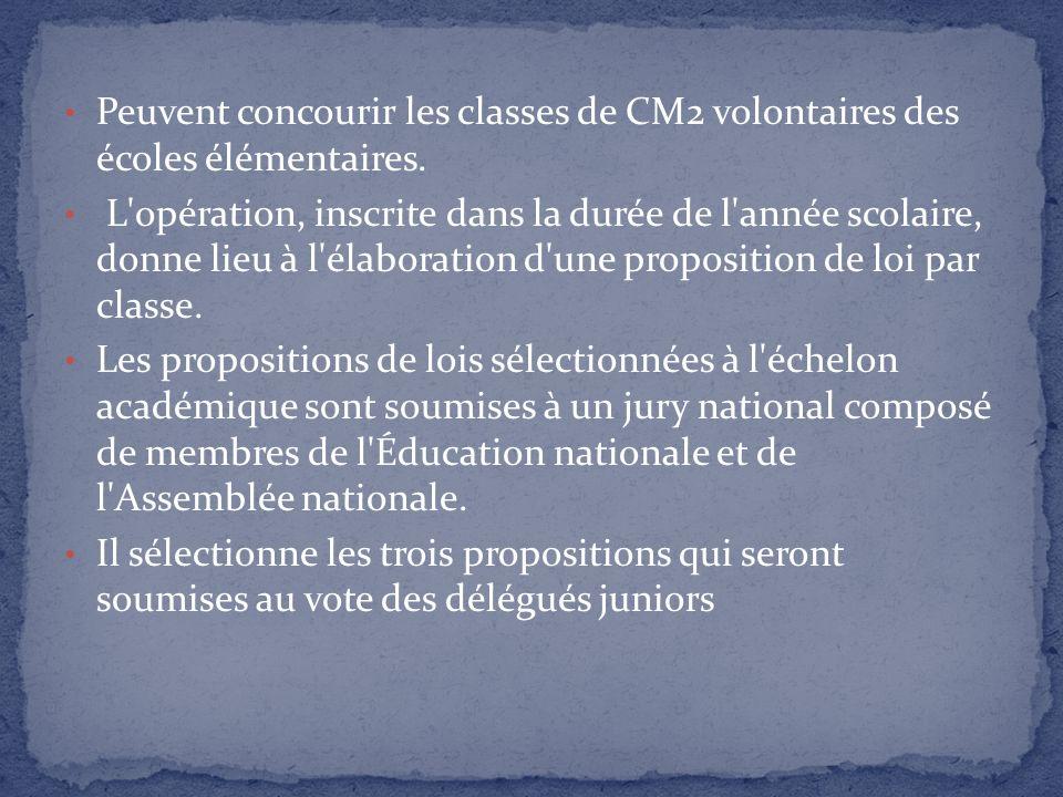 Peuvent concourir les classes de CM2 volontaires des écoles élémentaires.
