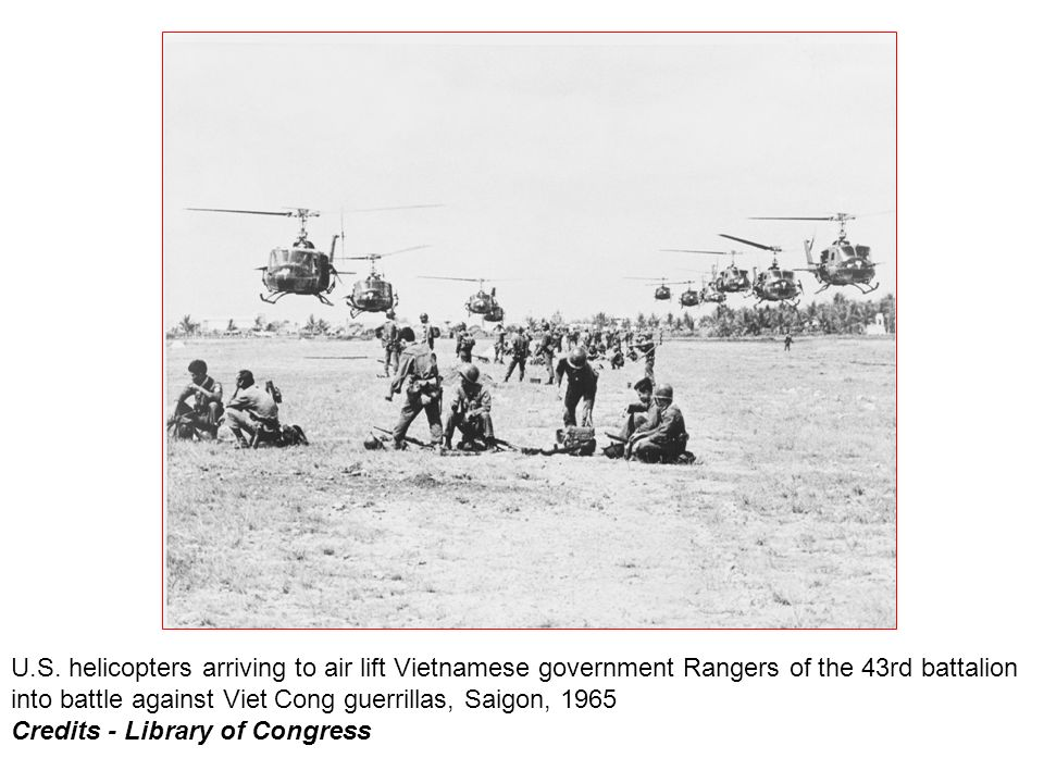 U.S. helicopters arriving to air lift Vietnamese government Rangers of the 43rd battalion into battle against Viet Cong guerrillas, Saigon, 1965