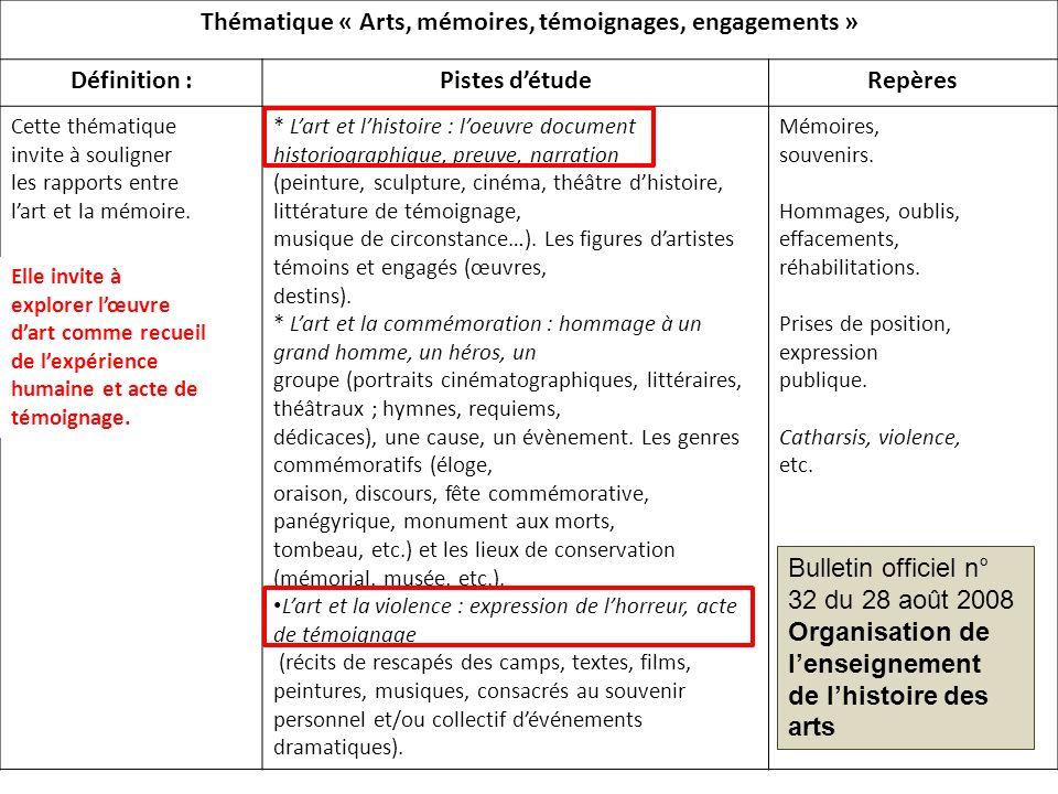 Thématique « Arts, mémoires, témoignages, engagements »