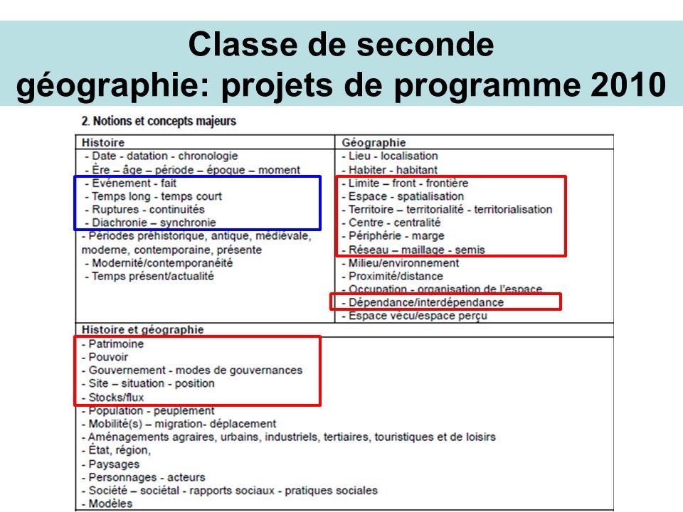 Classe de seconde géographie: projets de programme 2010