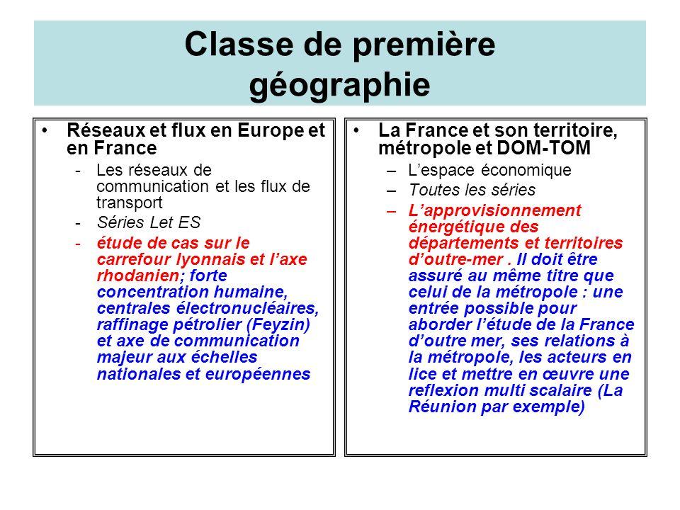 Classe de première géographie