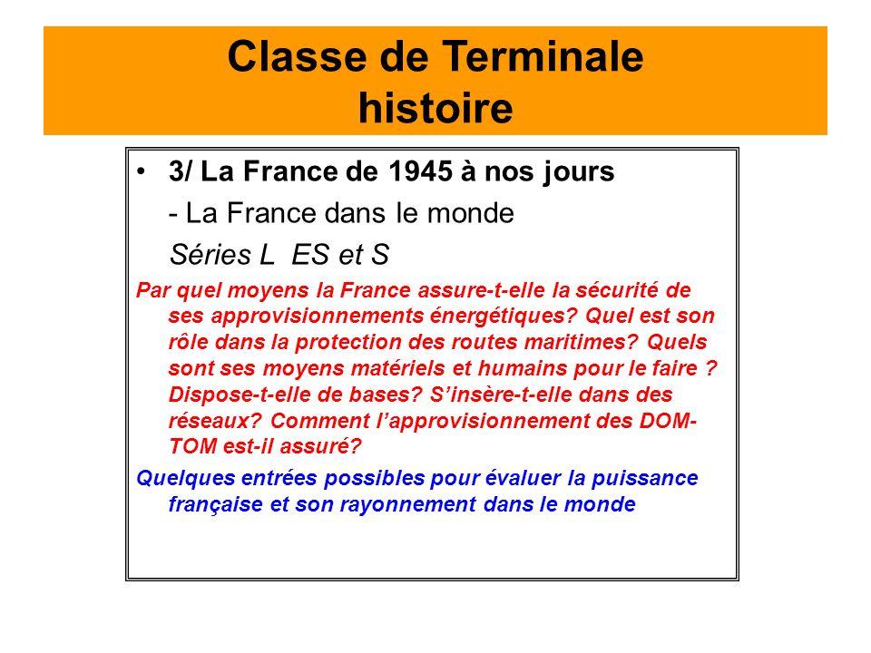 Classe de Terminale histoire
