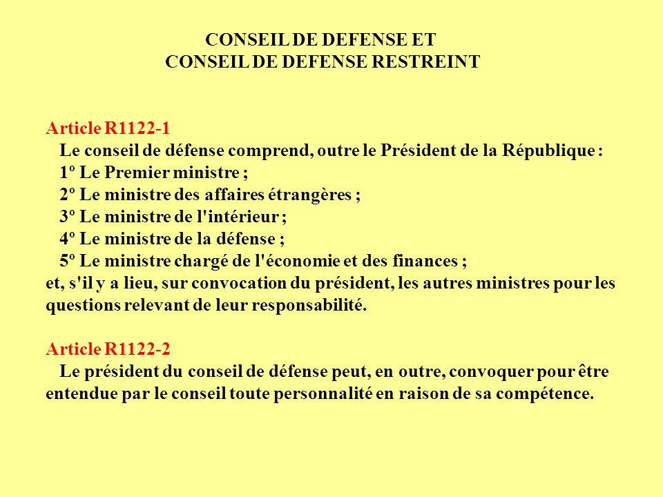 CONSEIL DE DEFENSE RESTREINT