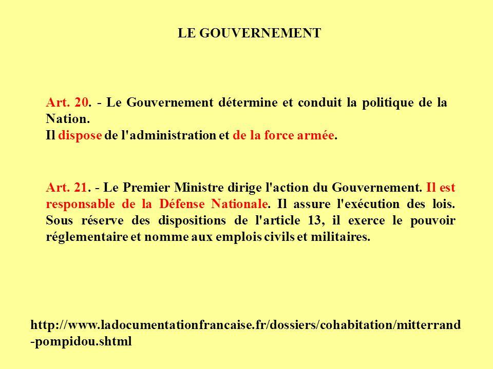 LE GOUVERNEMENT Art. 20. - Le Gouvernement détermine et conduit la politique de la Nation. Il dispose de l administration et de la force armée.