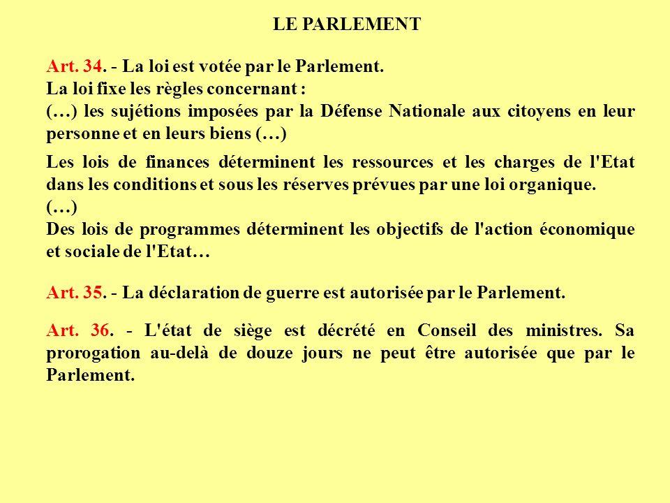 LE PARLEMENT Art. 34. - La loi est votée par le Parlement. La loi fixe les règles concernant :