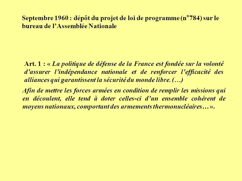 Septembre 1960 : dépôt du projet de loi de programme (n°784) sur le bureau de l'Assemblée Nationale