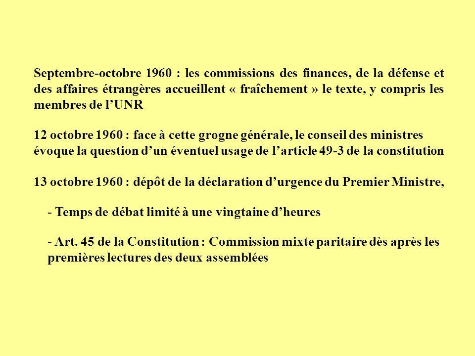 Septembre-octobre 1960 : les commissions des finances, de la défense et des affaires étrangères accueillent « fraîchement » le texte, y compris les membres de l'UNR