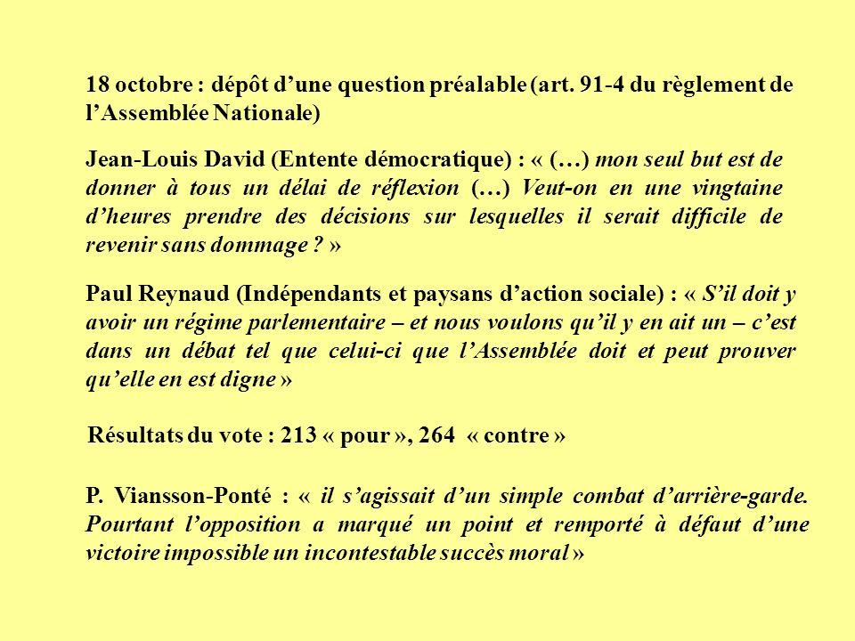 18 octobre : dépôt d'une question préalable (art