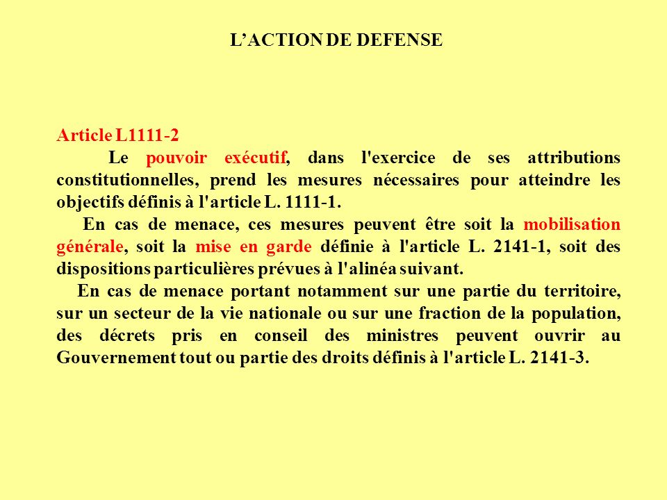 L'ACTION DE DEFENSE Article L
