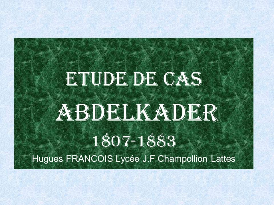 Hugues FRANCOIS Lycée J.F Champollion Lattes