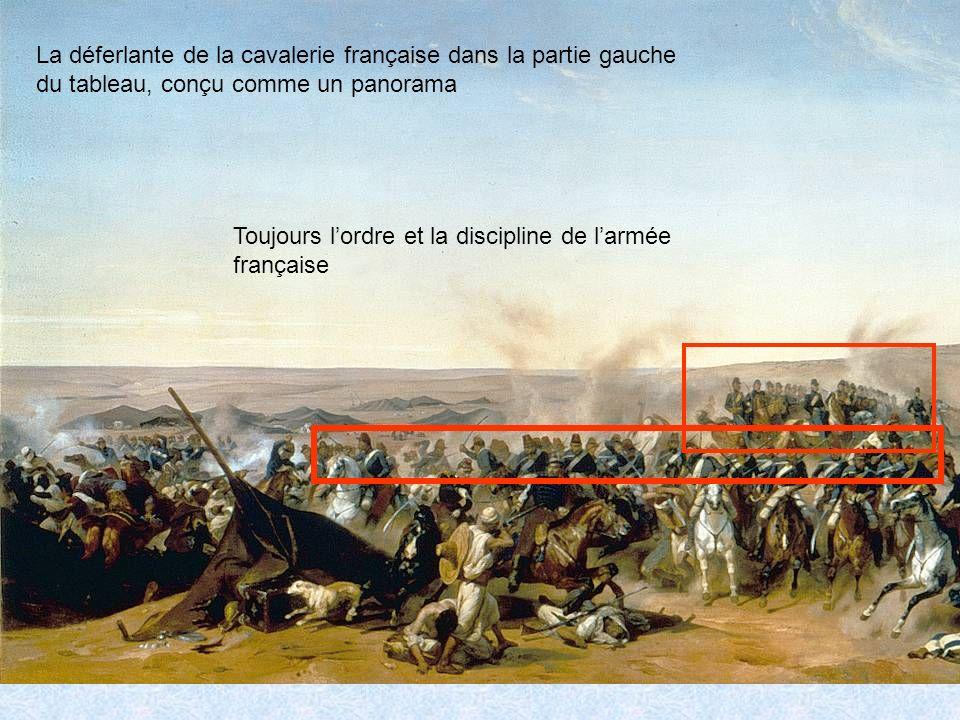La déferlante de la cavalerie française dans la partie gauche du tableau, conçu comme un panorama