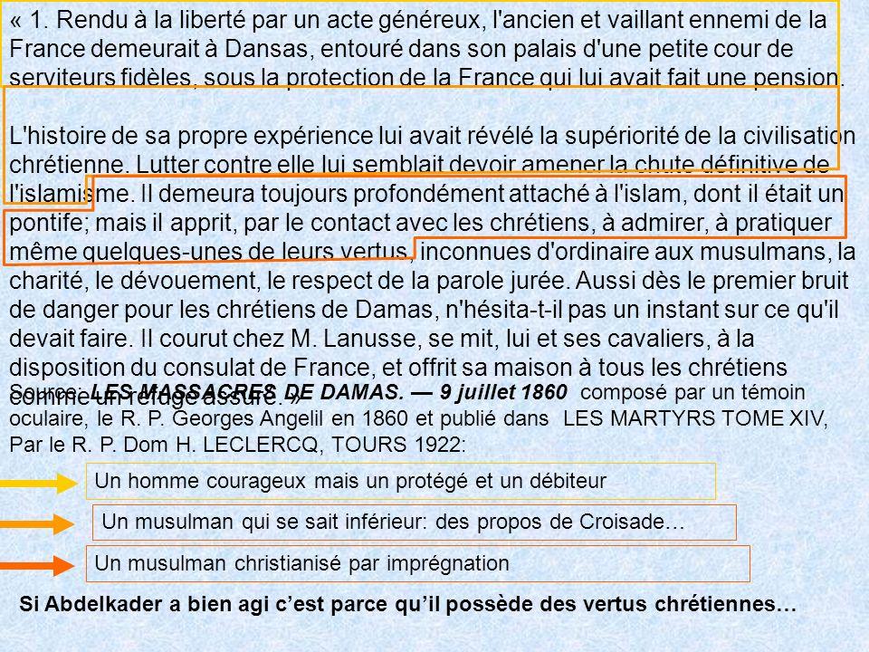 « 1. Rendu à la liberté par un acte généreux, l ancien et vaillant ennemi de la France demeurait à Dansas, entouré dans son palais d une petite cour de serviteurs fidèles, sous la protection de la France qui lui avait fait une pension.