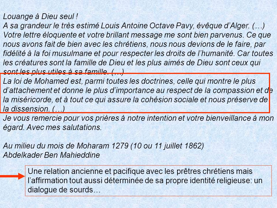 Louange à Dieu seul ! A sa grandeur le très estimé Louis Antoine Octave Pavy, évêque d'Alger. (…)