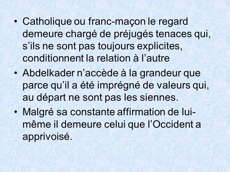 Catholique ou franc-maçon le regard demeure chargé de préjugés tenaces qui, s'ils ne sont pas toujours explicites, conditionnent la relation à l'autre