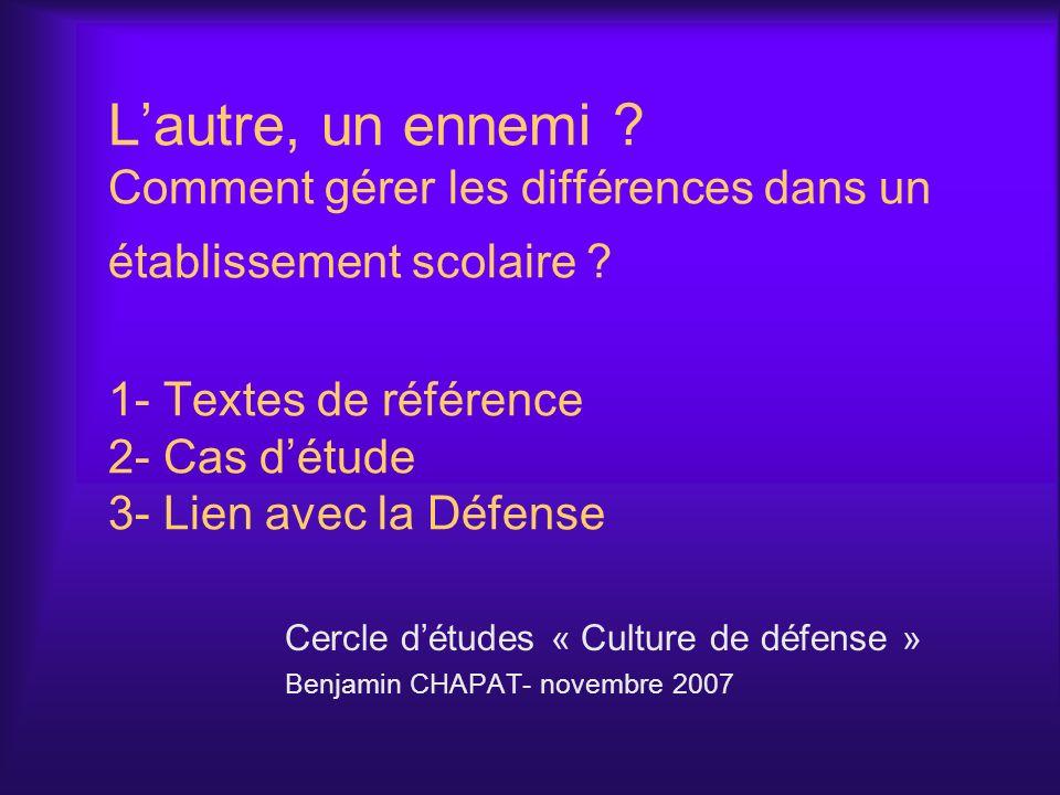 Cercle d'études « Culture de défense » Benjamin CHAPAT- novembre 2007