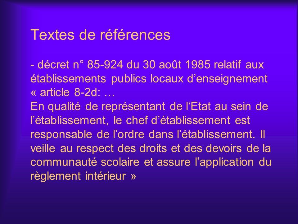 Textes de références - décret n° 85-924 du 30 août 1985 relatif aux établissements publics locaux d'enseignement « article 8-2d: … En qualité de représentant de l'Etat au sein de l'établissement, le chef d'établissement est responsable de l'ordre dans l'établissement.