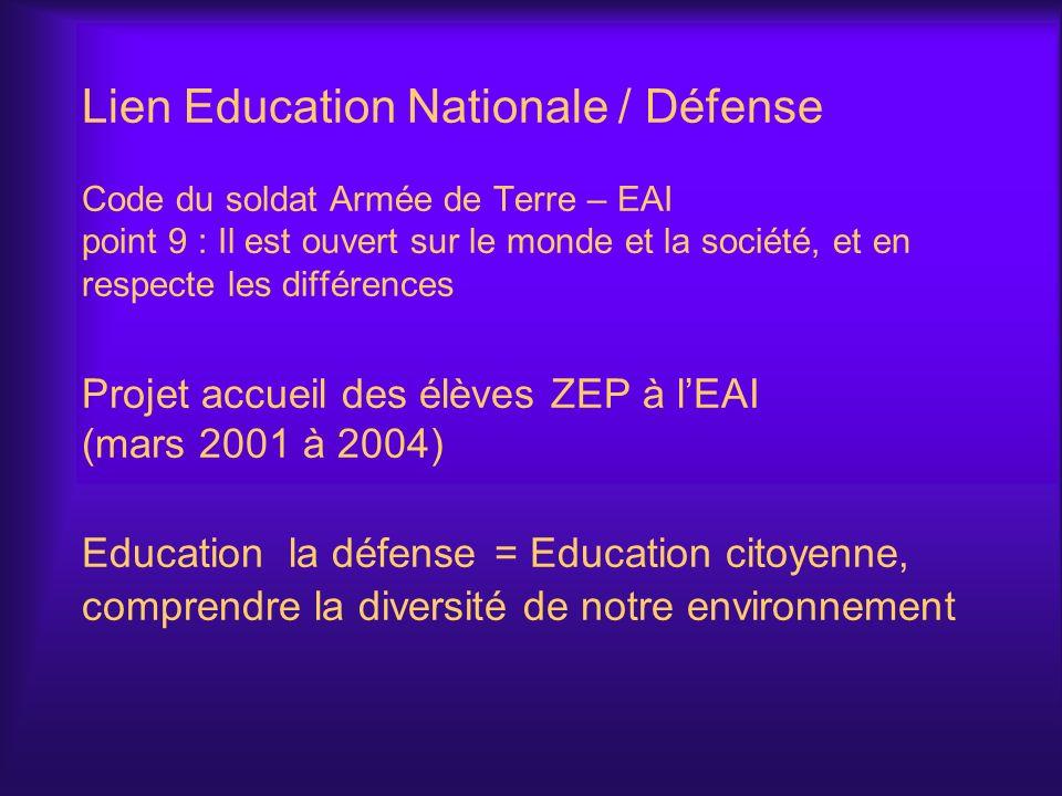 Lien Education Nationale / Défense Code du soldat Armée de Terre – EAI point 9 : Il est ouvert sur le monde et la société, et en respecte les différences Projet accueil des élèves ZEP à l'EAI (mars 2001 à 2004) Education la défense = Education citoyenne, comprendre la diversité de notre environnement