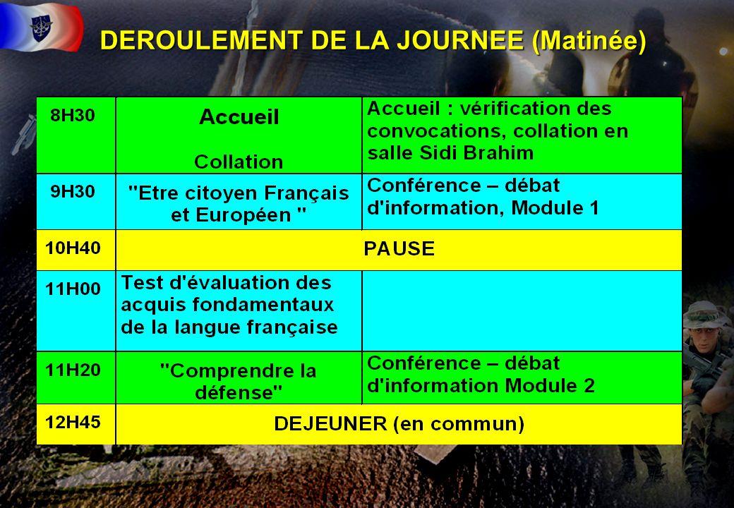 DEROULEMENT DE LA JOURNEE (Matinée)