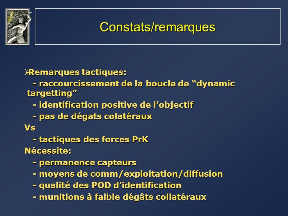 Constats/remarques Remarques tactiques: