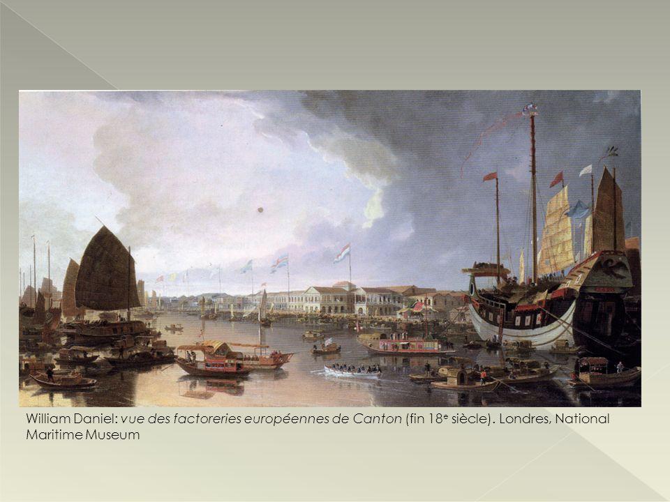 William Daniel: vue des factoreries européennes de Canton (fin 18e siècle).