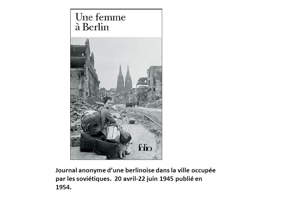 Journal anonyme d'une berlinoise dans la ville occupée par les soviétiques.