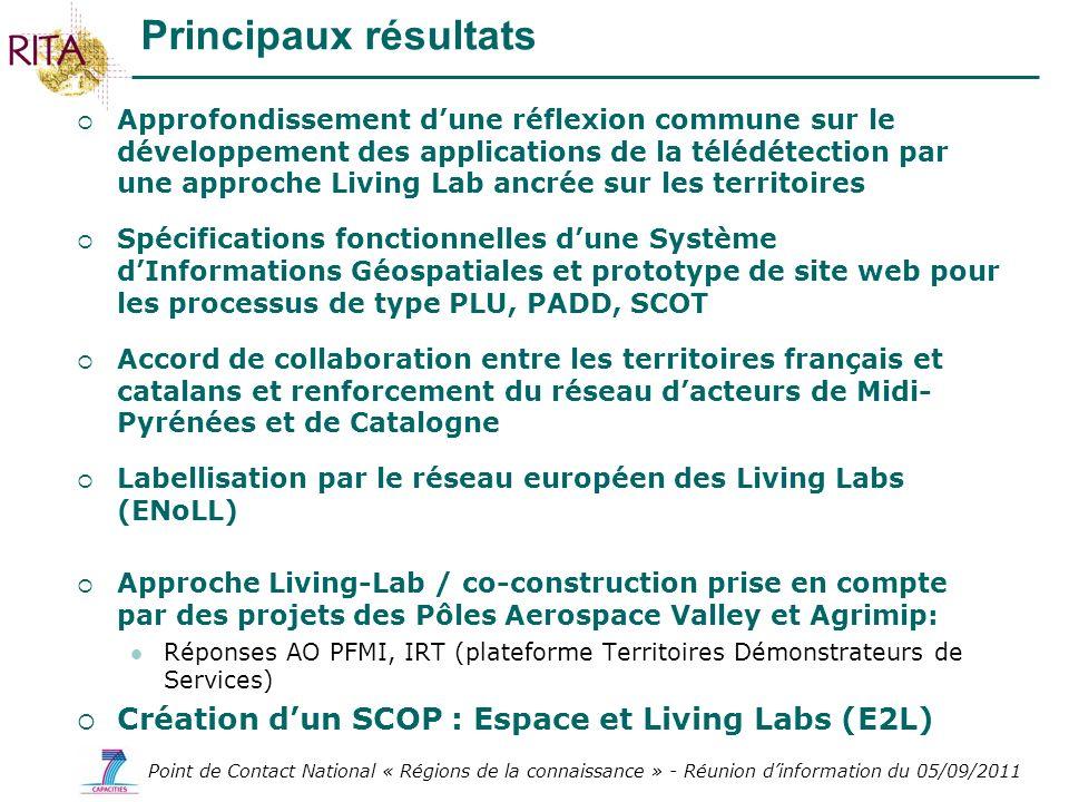 Principaux résultats Création d'un SCOP : Espace et Living Labs (E2L)