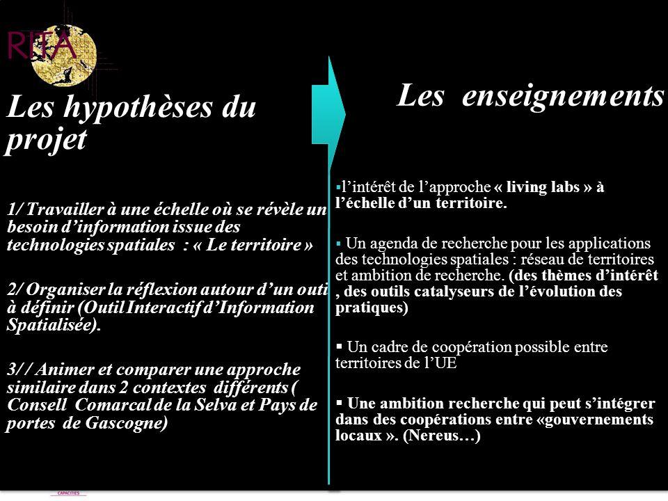 Les hypothèses du projet Les enseignements