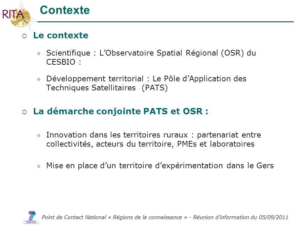Contexte Le contexte La démarche conjointe PATS et OSR :