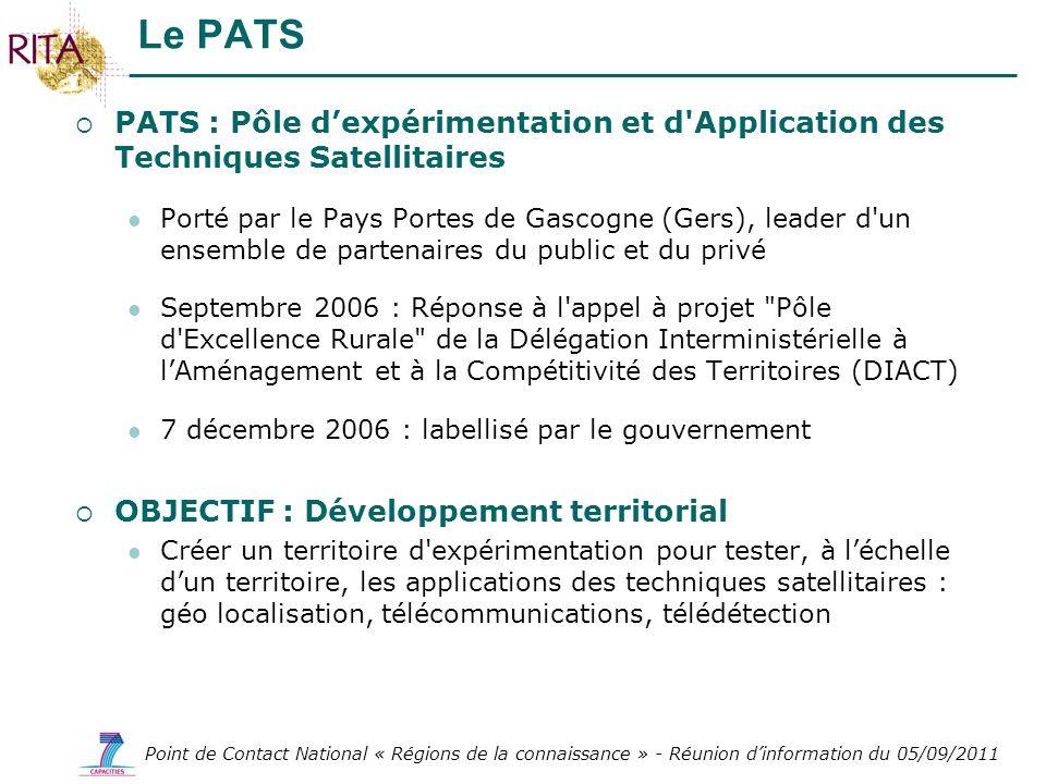 Le PATS PATS : Pôle d'expérimentation et d Application des Techniques Satellitaires.