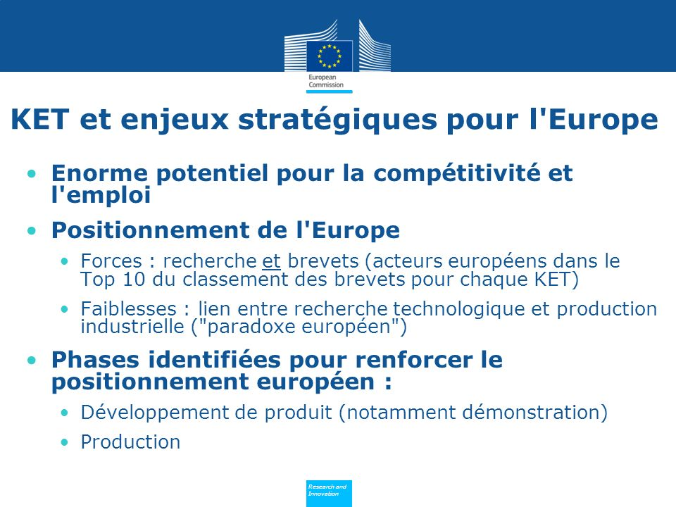 KET et enjeux stratégiques pour l Europe