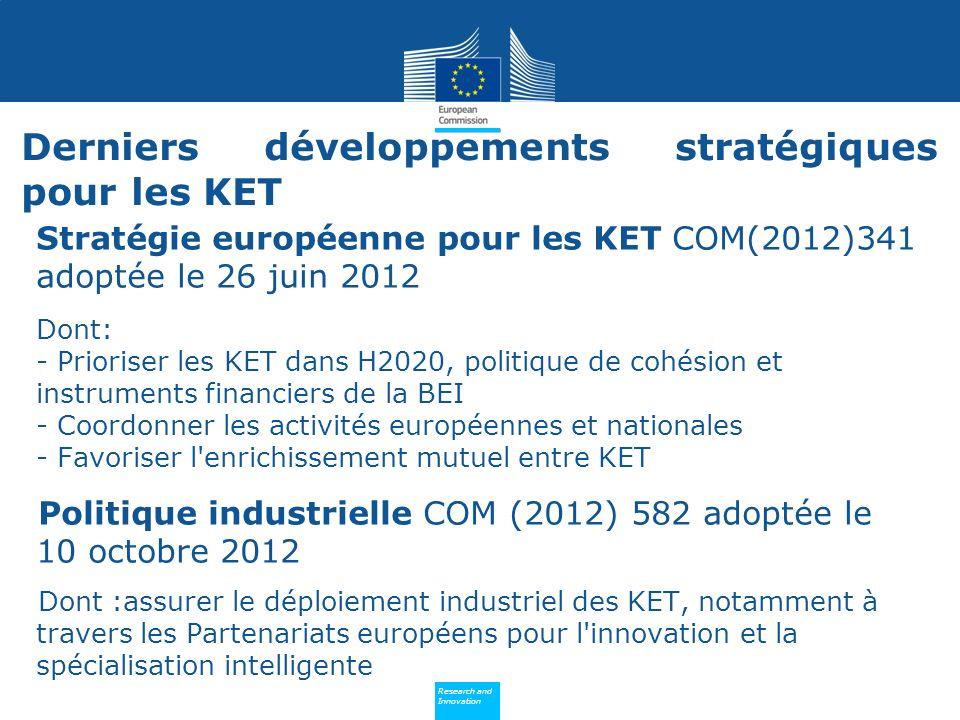Derniers développements stratégiques pour les KET