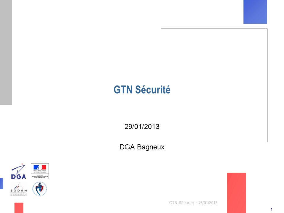 GTN Sécurité 29/01/2013 DGA Bagneux GTN Sécurité – 28/01/2013