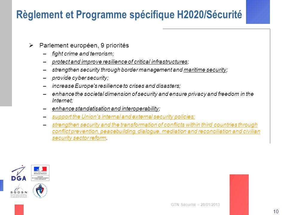 Règlement et Programme spécifique H2020/Sécurité