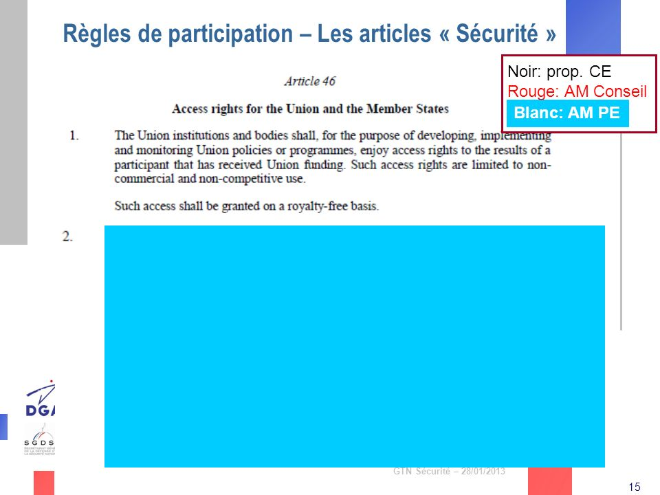 Règles de participation – Les articles « Sécurité »