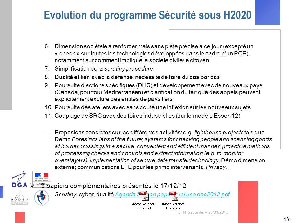 Evolution du programme Sécurité sous H2020