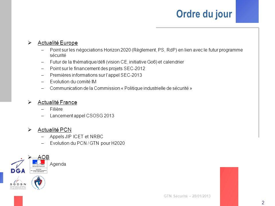 Ordre du jour Actualité Europe Actualité France Actualité PCN AOB