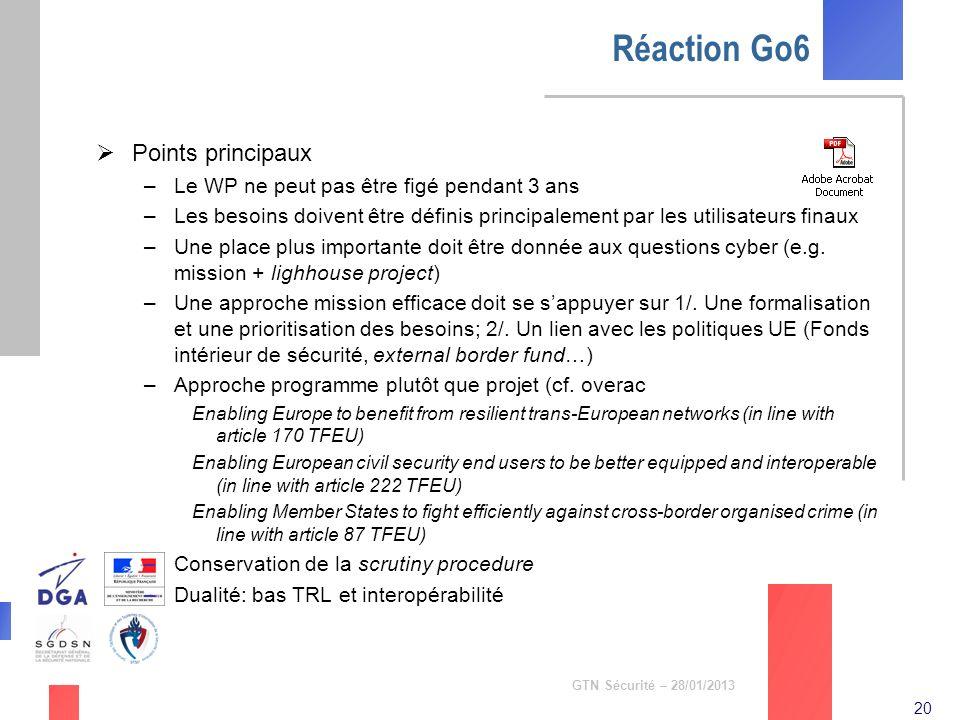 Réaction Go6 Points principaux