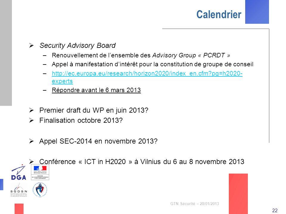 Calendrier Security Advisory Board Premier draft du WP en juin 2013