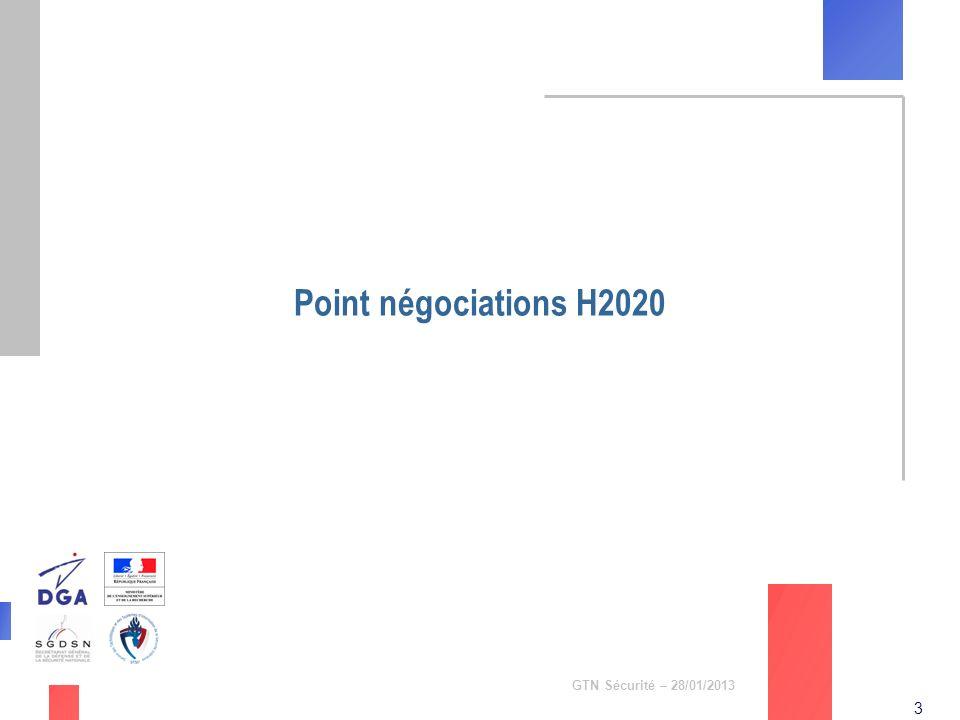 Point négociations H2020 GTN Sécurité – 28/01/2013
