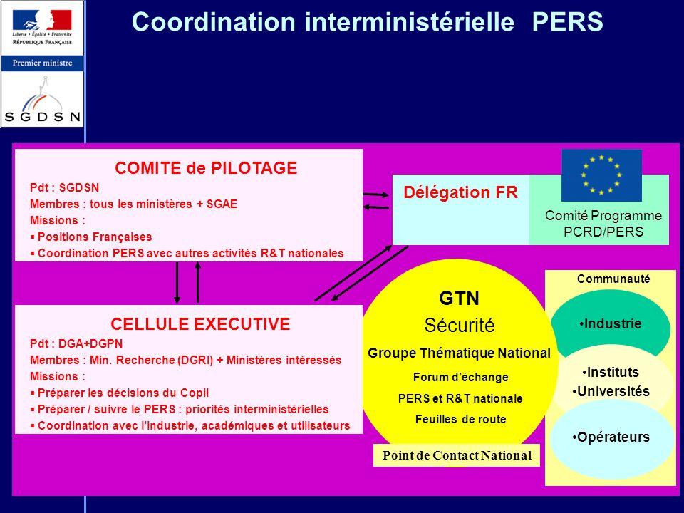 Coordination interministérielle PERS