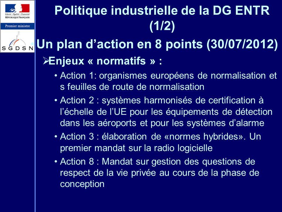 Politique industrielle de la DG ENTR (1/2)