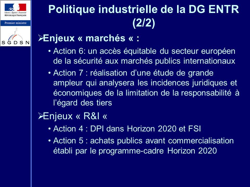 Politique industrielle de la DG ENTR (2/2)