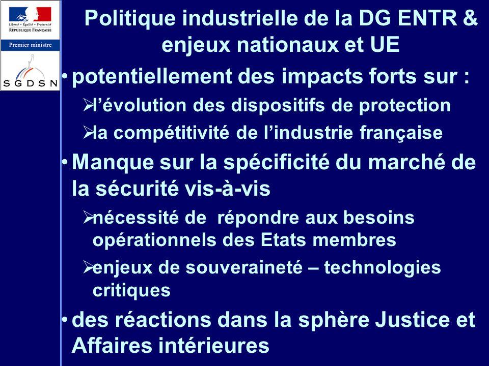 Politique industrielle de la DG ENTR & enjeux nationaux et UE