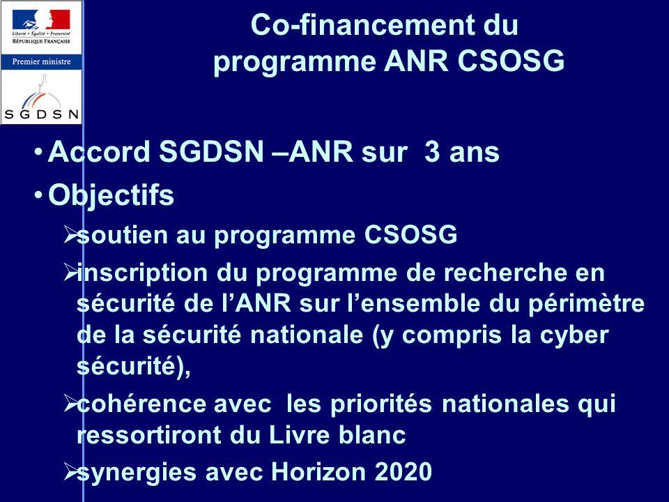Co-financement du programme ANR CSOSG