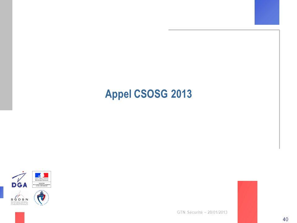 Appel CSOSG 2013 GTN Sécurité – 28/01/2013